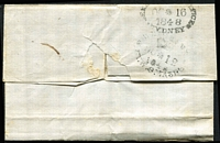 Lot 1200 [1 of 2]:1848 (Oct 12) outer to Sydney with largely fine strike of 'BRISBANE/[crown]/OC*12/1848/NEW.S.WALES' (Type Oii) unframed oval datestamp, Sydney 'OC16/1848' arrival datestamp. Ex Manning [Rare example of correspondence from Brisbane prior to the issue of adhesive stamps.]