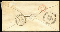 Lot 1203 [2 of 2]:1859 (Nov 28) cover to Melbourne with NSW 6d greyish-brown Wmk '8' Diadem (complete margins) SG #96a tied by fine Rays '95' cancel of Brisbane, backstamped at Brisbane, Sydney & Melbourne (in red), stamp has been removed & re-affixed (with hinge). Rare use of this Error of watermark issue in the Moreton Bay District period. Ex Manning & Kaye.