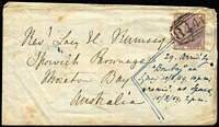 Lot 1202 [1 of 2]:1859 (Jun 10) inwards cover from UK with GB 6d lilac (defect) tied by BN '844' of Corfe Castle, addressed to Reverend Rumsey at Ipswich Parsonage with Corfe Castle (undated), Wareham, London (in red), Brisbane/NSW & Ipswich/NSW (very fine) backstamps. Ex Manning.