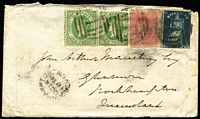 Lot 518 [1 of 2]:1860 (Sep 27) cover from Melbourne with colourful tri-colour franking of 6d QOT, 4d Beaded Oval and 1d Emblems x2 tied by BN '1' cancels of Melbourne, 'BRISBANE/OC6/1860/QUEENSLAND' transit backstamp & 'ROCKHAMPTON/OC14/1860/NSW' arrival datestamp on front. Rare interstate correspondence. Ex Manning