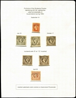 Lot 1204 [2 of 2]:1860 provisional use of NSW imperforate diadems in Moreton Bay Distict comprising 1d, 6d x5 (including inverted Wmk '6' & Wmk '12') and 1/- . Ex Manning & Richard Stevenson's Gold-Medal Collection. (7)