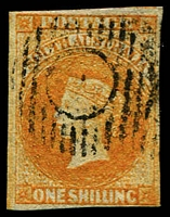 Lot 1006:1856-58 Imperf Adelaide Printing 1/- orange SG #12, complete close to good margins, tidy cancel, Cat £475.