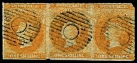 Lot 1007:1858-59 First Roulettes 1/- orange SG #18 strip of 3, tiny corner nick at upper right otherwise fine, tidy Adelaide dumb cancels, Cat £150+. Rare multiple.