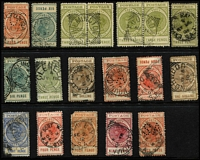 Lot 834 [2 of 2]:Mostly Squared-Circle Datestamps On Long Toms comprising [Rated 3R], Arltunga (Type C4); [Rated 2R] Denial Bay; others from Appila Yarrowie, Eudunda (on 3d pair), Express Railway, Freeling, Glenelg, Hamley Bridge, Mount Gambier, Mt Lofty, Norwood, Ovingham, Port Wakefield, Smoky Bay, Stock Exchange, Tailem Bend & and Wilmington (on 3d pair). (17 items)