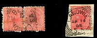 Lot 835 [2 of 2]:Canowie: (A2) almost complete squared-cricle strike tying QV 1d to small piece Rated 3R; also Canowie Belt largely complete squared-circle strike on QV 1d red pair, [Rated R]. (2) PO 1/9/1867; closed 22/2/1924.