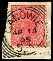 Lot 593 [1 of 2]:Canowie: (A2) almost complete squared-cricle strike tying QV 1d to small piece Rated 3R; also Canowie Belt largely complete squared-circle strike on QV 1d red pair, [Rated 'R']. (2) PO 1/9/1867; closed 22/2/1924.