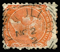 Lot 1120:Karcultaby (1): (C2) clearly discernible squared-circle strike on QV 2d, [Rated 4R].  PO 1/8/1890; closed 8/3/1900.