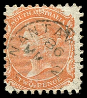 Lot 837:Nantawarra: (B2) 1886 large-part Type C1 cancel (year line over the month/day line) on 2d QV, [Rated 4R]. LRD by 5+ years.  PO c.1874; closed 30/6/1982.