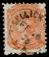 Lot 863:Sellick's Hill: (B2) large-part Type UF4a strike on QV 2d, [Rated 4R].  PO 2/7/1860.