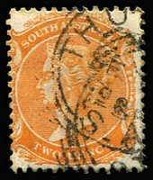 Lot 1217:Thurlga: (B2) good-part Type SC1 squared-circle strike on QV 2d orange, [Rated 4R].  PO 1/3/1894; closed 19/3/1906.