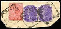 Lot 838:Wirrialpa (2): (B1) three good to fine complete squared-circle datestamps tying QV 2d pair & 1d to small piece, [Rated 3R].  PO 1/4/1895; closed 31/12/1907.