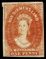 Lot 1127:1857-67 Imperf Chalon Wmk Double-Lined Numeral 1d dull vermilion SG #28, complete margins, fine unused, Cat £350.