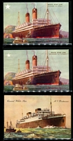 Lot 133 [3 of 5]:Ships - British Liners: mostly unused coloured cards (some used) plus a few moderns cards or reproduction, with representations from P&O, White Star, Royal Mail, Union Castle & Cunard, etc; generally fine. Colourful and impressive array. (150)