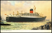Lot 93 [1 of 5]:Ships - Cunard Line And Clan Line: selection mostly black & white photos plus a few PPCs (some Cunard Line in colour) with vendor's annotations indicating the year the ship was built and year it was scrapped, sold or wrecked/sunk. Generally fine. (148)