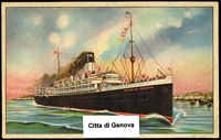 Lot 95 [1 of 4]:Ships - Italian Liners: approximately 50/50 mix of black and white and coloured PPCs from 1920s-60s era, most if not all are unused. Generally fine with little or no duplication. (69)