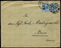 Lot 685:1901 (Aug 19) double-rate cover to Germany with 2½d x2 tied by Melbourne datestamps, on reverse fine strike of 'KAISERLICH DEUTSCHES CONSULAT/[ARMS]/IN MELBOURNE' cachet & Pirna arrival backstamp, small edge faults.