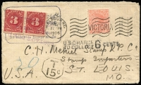 Lot 1012:1906 (Jun 30) Howard Davis (stamp dealer, George St, East Melbourne) cover to stamp traders in St Louis, underpaid & taxed 15c (should have been 30c for double deficiency), USA 3c dues pair added, refused delivery & returned with US District & Melbourne DLO datestamps on reverse, edge blemishes.