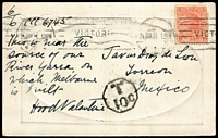 Lot 1233 [2 of 3]:1907-11 Destination Mail comprising PPCs [1] 1907 Melbourne to Uruguay with superb Montevideo arrival datestamp; [2] 1909 Terang to India with Tuticorin transit & Bangalore arrival datestamp; [3] 1911 Melbourne to Mexico, taxed with no Dues added. (3)