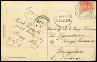 Lot 1233 [3 of 3]:1907-11 Destination Mail comprising PPCs [1] 1907 Melbourne to Uruguay with superb Montevideo arrival datestamp; [2] 1909 Terang to India with Tuticorin transit & Bangalore arrival datestamp; [3] 1911 Melbourne to Mexico, taxed with no Dues added. (3)