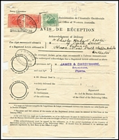 Lot 741 [2 of 3]:1909-12 Avis De Reception forms x3, comprising [1] 1909 (Oct 29) franked with 2½d blue tied by oval Registered Perth datestamp, DLO Perth oval datestamp in violet; [2] 1912 (Jun 21) with 2d yellow (pinholes) & ½d green tied by Beverley datestamps; [3] 1912 (Oct 28) with 1d pair & ½d tied by oval Registered Perth datestamps. (3)