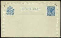 Lot 1351 [2 of 2]:1902-12 Selection comprising 1902 2d slate blue (text on reverse) PSSA #LC3 x2 (one aged), 1905 2d ultramarine (text on reverse) #LC4, 1912 'ONE PENNY' (in red) on 2d (no text on reverse) #LC6; fine overall. Cat $360. (4)