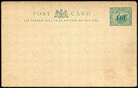 Lot 1347 [2 of 2]:1892 Handstruck 1½d in violet on 3d green PSSA #PC5 x4 one with Broken 'd' in surcharge (card damaged) another with Surcharge in bluish-grey, Handstruck 1½d in violet on 2d carmine-red #PC14 (tear) & 1912 Surcharged 'ONE PENNY' in violet on 2d #PC20 x3; some soiling/age staining, all unused. (8)