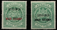 Lot 1265 [2 of 2]:1916-18 War Stamp 'SPECIMEN' overprint on ½d (both) & 1½d SG #52-54s, fine mint, Cat £120. (3)
