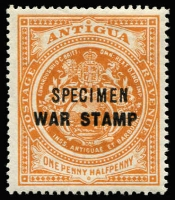 Lot 1265 [1 of 2]:1916-18 War Stamp 'SPECIMEN' overprint on ½d (both) & 1½d SG #52-54s, fine mint, Cat £120. (3)