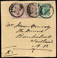 Lot 1182 [3 of 3]:1881-1911 GB Issues in Ascension with [1] QV 1d lilac pair SG #Z7 & ½d blue-green Jubilee SG #Z19 tied to 1901 piece, addressed to Scotland, by Type Z2 datestamps; [2] 1887-1922 selection with 2d Jubilee #Z10 (crease & mild discolouration, Cat £350), KEVII 1d red #Z22 bisect on small piece, KGV 1d red #Z40, KGV 3d violet #Z44 superb used on piece and KGV 2d orange Die I & 3d violet SG #Z42 & #44 tied to small piece; generally fine £1,200+. (6 items)