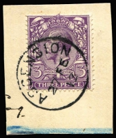 Lot 819:1887-1922 Issues Selection comprising 2d Jubilee SG #Z10 (crease & mild discolouration, Cat £350), KEVII 1d red #Z22 bisect on small piece, KGV 1d red #Z40, KGV 3d violet #Z44 superb used on piece and KGV 2d orange Die I & 3d violet SG #Z42 & #44 tied to small piece, Cat £870+. (5)
