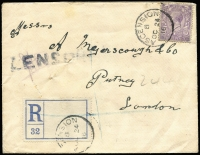 Lot 1185 [1 of 2]:1912-22 Issues 1916 (Oct 24) cover to London (backstamped) with GB KGV 3d lilac tied by Type Z2 datestamp SG #Z44 (Cat £180 off cover), large void type registration label tied by single strike of datestamp, woodcut 'CENSORED' handstamp & signed in violet crayon, minor blemishes. Rare.