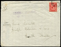 Lot 1184:1912-22 Issues 1916 (May 22) commercial cover to UK with GB KGV 1d red SG #Z40 tied by Type Z2 datestamp, largely fine 'PASSED CENSOR/ASCENSION' two-line handstamp in violet, 'ASCENSION' printed in blue on flap, opened on two sides, minor blemishes.