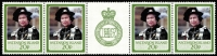 Lot 1268:1987 Royal Ruby Wedding 20p gutter strip of 4, each unit variety Overprint double SG #449a, fresh MUH, Cat £200++.