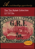 Lot 205:Australasia: selection comprising 'The Tim Rybak Collection' (2008), 'The Ello Collection of the Austalian Occupation of New Guinea including the GRI Overprints' (2009), 'Brian Peace's New South Wales Pre-Stamp Postal History' (2009) & 'The Sybrand Bakker Collection of BCOF Overprints' (2013). All by Prestige Philately. (4)