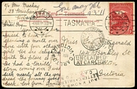 Lot 293 [1 of 4]:1905-11 PPCs comprising Victoria to Tasmania 1906 PPC showing RP of Ballarat Woollen Mills unstamped with Ballarat '5' duplex, Devonport & Sheffield (Tas) transits, taxed with 2d Due added tied by The Nook datestamp; Tasmania to Victoria 1911 colour PPC showing Government House Hobart to Carlton (Vic) undelivered with 'NOT KNOWN...', 'UNCLAIMED' & DLO datestamps for Melbourne (in red) on viewside & DLO Tasmania datestamp on message side. (2)