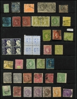 Lot 295 [2 of 3]:Array On Hagners with mint & used oddments, mostly Victoria also NSW revenues KEVII Stamp Duty to 5/- & 'G.I.O.' overprints on numerals to 5/- x2; also a few forgeries; mixed condition, worth checking. (100 approx).