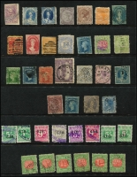 Lot 295 [1 of 3]:Array On Hagners with mint & used oddments, mostly Victoria also NSW revenues KEVII Stamp Duty to 5/- & 'G.I.O.' overprints on numerals to 5/- x2; also a few forgeries; mixed condition, worth checking. (100 approx).