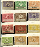 Lot 299 [2 of 4]:Mostly Victoria Collection mostly used, with 1902-05 to ½d lilac (Elsmore Online, Cat $100), 1902-17 to 1/- x3, 1917 Wings Rouletted Issue to 2/- x2. 1934 Wings Underprinted mostly unused (for Bairnsdale station) to 2/-, 3/- & 5/- plus 1941 10d on 10d, 1958 perforated with 11d x2 & 3/-, good range of decimals to $5, plus duplicated $1 'Green Stars' & few Cash Register types; NSW with 1891 3/- x3 (three different bicolours), 1914 to 1/- x2, later issues to 10/- & $5 x2; Queensland mostly decimals to $10 x3; SA few oddments including Silverton Tramways trio; very mixed condition. (100s)