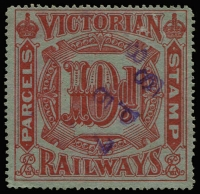 Lot 923 [1 of 4]:Selection On Hagners mostly Victoria with 1902-17 to 9d x2, 10d & 1/- x2, 1917-34 Wings rouletted with 9d, 10d, 11d, 2/- & 3/-, 1958 Series to 2/-, 3/- & 5/-, also NSW pre-decimals to 3/-, few Queensland decimals and Tasmania 1960 range to 4/- handstamped 'CANCELLED/LAUNCESTON'; condition variable. (62)