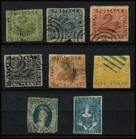 "Lot 921 [2 of 3]:Forgeries Group with NSW Panelli (?) 1d, 2d & 3d Views plus Van Dyke reprints of Laureates 2d, 6d & 8d; WA imperf x4 including 1d black & 1d on 2d, plus perforated x2; Queensland imperf 2d; Victoria imperf 2d Half Length ""used"" & 3d; condition variable. (15)"