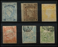 "Lot 921 [3 of 3]:Forgeries Group with NSW Panelli (?) 1d, 2d & 3d Views plus Van Dyke reprints of Laureates 2d, 6d & 8d; WA imperf x4 including 1d black & 1d on 2d, plus perforated x2; Queensland imperf 2d; Victoria imperf 2d Half Length ""used"" & 3d; condition variable. (15)"