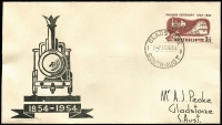Lot 703:Peake (Jack) 1954 3½d Railway Centenary on illustrated FDC with woodcut, numbered '23/35' in pencil, Gladstone (SA) '13SE54' FDI datestamp, unaddressed.