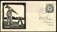 Lot 856:Peake (Jack) 1955 3½d Antarctic Research on illustrated FDC with Jack Peake woodcut, Mawson cachet and '16FE55' FDI datestamp, numbered '38/38' in pencil. Popular thematic.