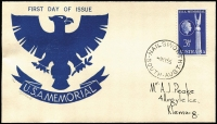 Lot 857:Peake (Jack) 1955 3½d USA Memorial on illustrated FDC with Jack Peake woodcut, numbered '11/60' in pencil, Nailsworth (SA) '4MY55' FDI datestamp.