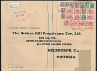 Lot 723 [1 of 2]:1946 (May 9) BHP oversized printed cover (390x290mm) from Sydney to Melbourne, with 4/1½d multi franking paying the combined registration, express delivery & late fees.