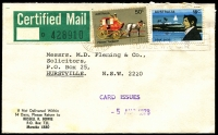 Lot 319 [3 of 7]:1950s-90s Certified Mail Covers including 1957 Allen's Steam Rollers advertising cover with Melbourne paid meter cancel, 1965 with 6d Thornbill & 5d Monash, 'Unclaimed', 1966 with 7c fish & 2c Queen tied by RAAF Richmond (NSW) datestamp, etc; plenty of philatelic mail including 1957 QEII 10d grey-blue on WCS FDC addressed to Gower and also on WCS First Day Card; interesting lot which should reward inspection. (Approx 150 )