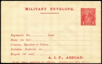 Lot 689:1916-17 1d Red KGV Sideface 'A.I.F., ABROAD.' Military Envelope setting 2 (27mm Lines) on buff wove paper BW #ME4B, fine unused, Cat $300.