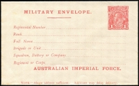 Lot 688 [2 of 2]:1916 1d Red KGV Sideface 'AUSTRALIAN IMPERIAL FORCE.' At the Base Military Envelope Setting 1 x2, both types of the double lines (see Brusden White notes), fine mint, Cat $600+. (2)