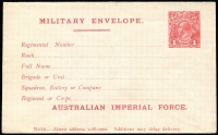 Lot 843 [1 of 2]:1916 1d Red KGV Sideface 'AUSTRALIAN IMPERIAL FORCE.' At the Base Military Envelope Setting 1 x2, both typeset forms of the double lines (see Brusden White notes), fine mint, Cat $600+. (2)