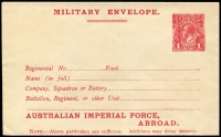 Lot 846:1917-19 1d Red KGV Sideface 'AUSTRALIAN IMPERIAL FORCE,/ABROAD.' At the Base Military Envelope, setting 1 – top of stamp level with letters, on laid paper, BW #ME5A, fine unused, Cat $300.